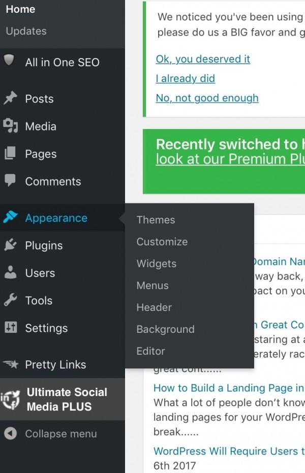 Add links to wordpress