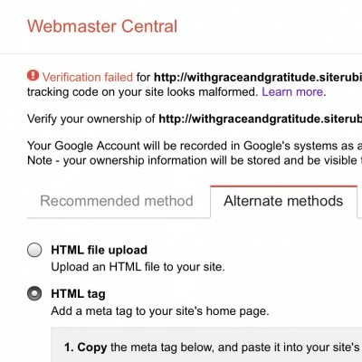 Using HTML Tag to Verifywebmaster Tools.