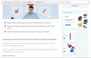 Oberlo app on Shopify